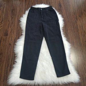 Jones New York Sport   Black High Waist Tapered Denim Jeans 4 Petite Stretch